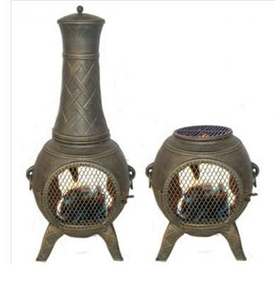 Chimera Screen Front - Deeco CP DM6035J-AA Western Basket Weave Jr. Chiminea with Cast Aluminum, Spark Guard Screen