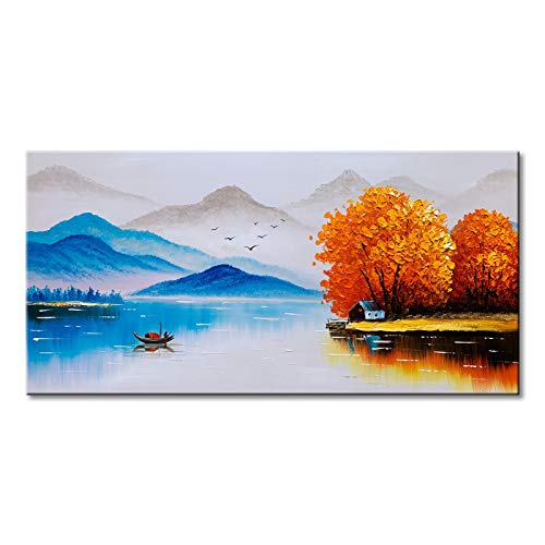 Hand Painted Chinese Landscape Oil Painting on Canvas Modern Scenery Walll Art - Abstract Painting Chinese