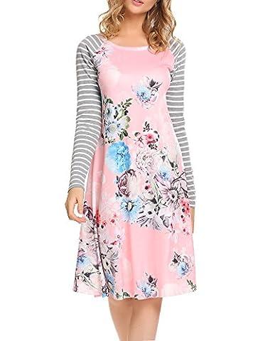Kancystore Women's Floral Print Casual Long Sleeve Striped Loose T-shirt Dresses Knee Length (L, - Girls Pink Floral Denim