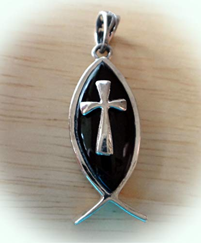 1 Reversible Sterling Silver 6g Black Onyx Christian Fish & Cross Charm Pendant Vintage Crafting Pendant Jewelry Making Supplies - DIY for Necklace Bracelet Accessories by CharmingSS