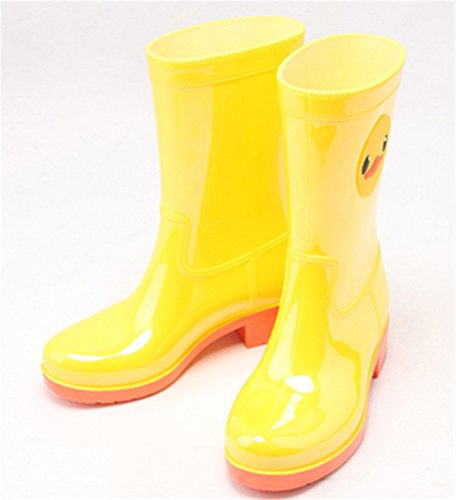 Animal Yellow Casual Antiskid Women Boots Mid Waterproof Footwear Rain Calf Rain Cute nTBapq