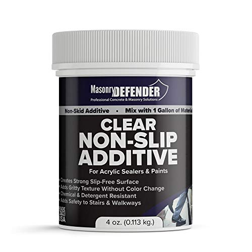 (Clear Anti Slip Paint Additive Floor Grip for Acrylic Sealers & Paints, 4 oz. for 1 Gallon - Non Skid Paint Additive Creates Strong Slip Resistant Surface & Adds Gritty Texture Without Color Change)