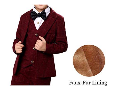 YUFAN Boys Plaid Gray Blue Red Suit Set with Grid 3 Pieces Jacket Vest Pants Set (8, Red(Faux-Fur Lining))