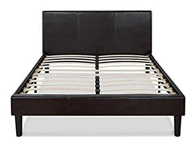 Faux Leather Platform Bed with Wooden Slats