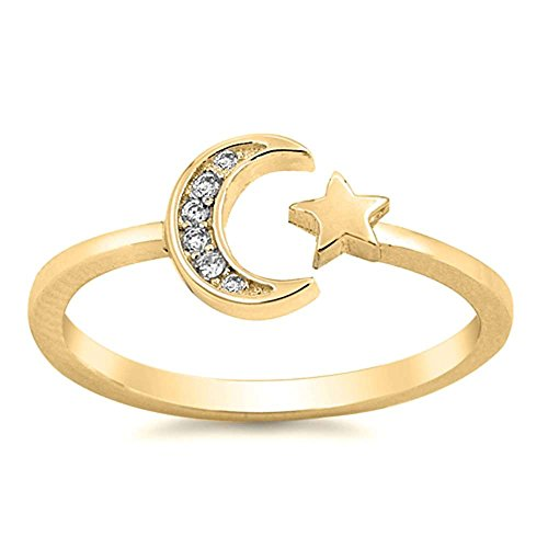 Oxford Diamond Co Sterling Silver Celestial Star & Moon Open
