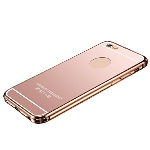 Culater® für iPhone 6 Plus Luxus Aluminium Metall Spiegel Tasche case cover Roségold