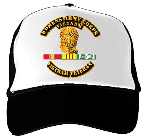 (Trucket Hat - Black - Womens Army Corps - Vietnam Vet w VN)
