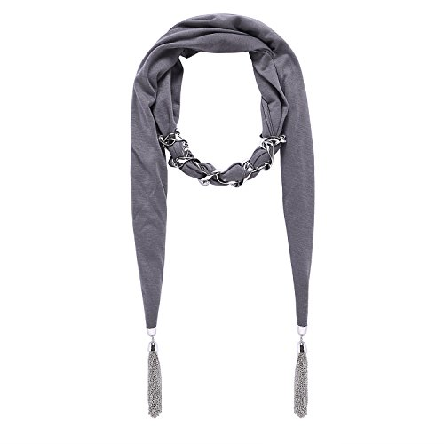 - Lureme Vintage Bohemia Style Solid Color Scarf with Buckle Chain Tassels Necklace (01003043) (Grey)