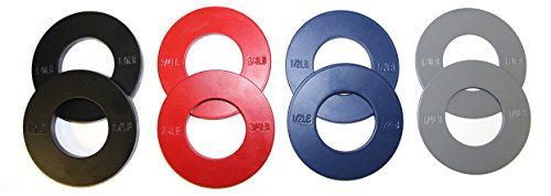 "Serious Steel Fitness Olympic Fractional Plates w/ Bag | 5 lb. Set: Gray 1/4 lb. Pair, Blue 1/2 lb. Pair, Red 3/4 lb. Pair & Black 1 lb. Pair | Designed for 2"" Olympic Barbells"