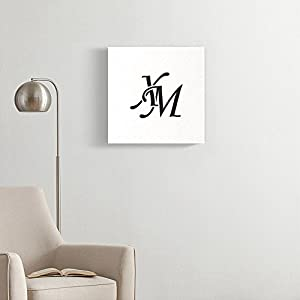 Emvency Painting Canvas Print Square 16x16 Inches Black Abstract Xm Initial Monogram Antique Boutique Brand Classic Elegance Wall Art Decoration Wrapped Wooden Frame