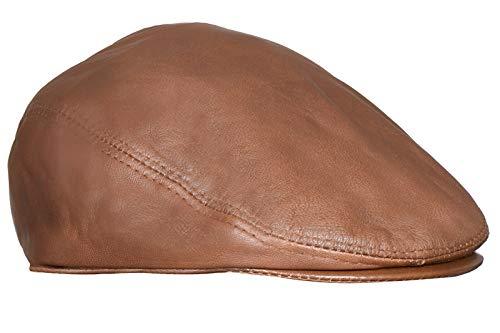 Men's Tan Real Soft Leather Ivy Beret Newsboy Gatsby Golf Cabbie Flat Cap Hats L