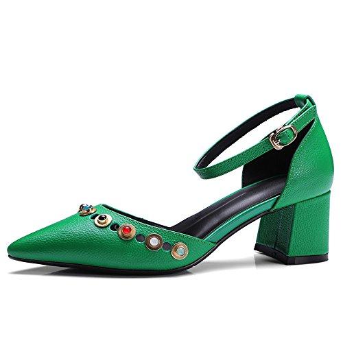 Mujer de de Zapatos Correa Grueso Verde para con Tobillo Tacón Cuero Seven Puntiagudos Moda Nine vafORf
