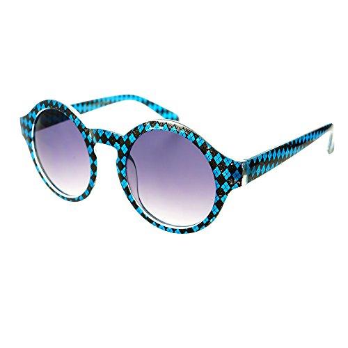 Freyrs Funky Print Keyhole Round Sunglasses - Sunglasses Checkerboard