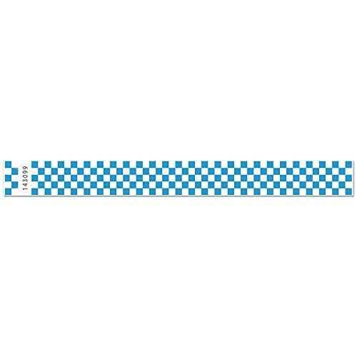 500 Blue Checkered Consecutively Numbered Tyvek Wristbands 3/4 ()