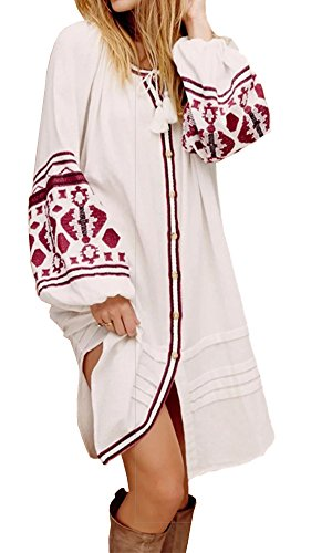 R.Vivimos Womens Autumn Long Sleeve Embroidery Oversized Single Breasted Button Up Dresses with Pockets (Large,White)