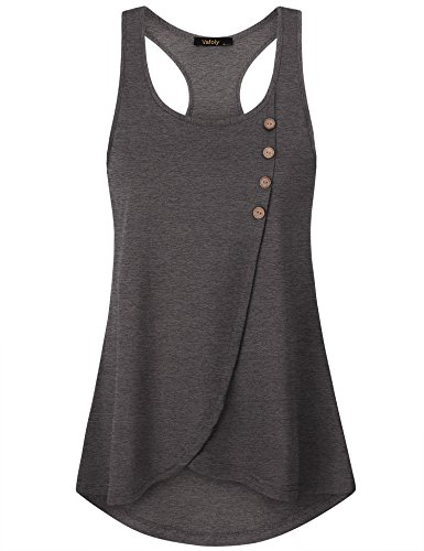 Button Tank In Grey - Vafoly Tank Shirts for Women, Ladies Scoop Neck Button Decor Flowy Loose Fit Racerback Sleeveless Top Dark Grey M