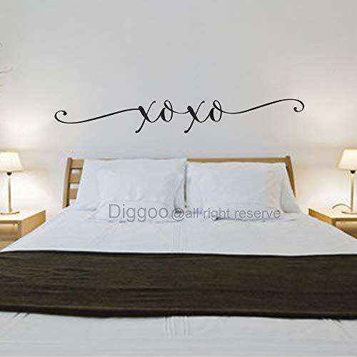 Diggoo XOXO Wall Decal Love Vinyl Lettering Romantic Wall Art Home Vinyl Decal Bedroom Wall Decor Valentine Gift (Black,7