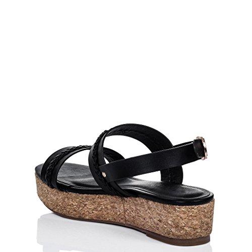 SPYLOVEBUY MELAYAN Mujer Plataforma Tacón de Cuña Sandalias con Plataforma Negro - Cuero Sintético
