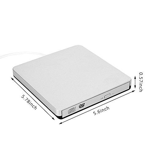 TOPTRU External CD Drive USB 2.0 DVD Burner Reader Recorder Writer Rewriter for Win10/Win8/Apple Macbook Pro, Desktop, Laptop,Notebook by TOPCHU (Image #2)