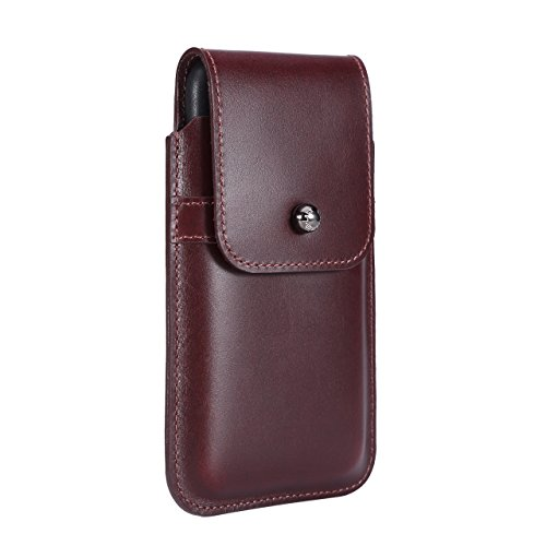 Blacksmith-Labs Barrett 2017 Premium Genuine Leather Swivel Belt Clip Holster for Apple iPhone X for use with no cases or covers - Burgundy Cowhide/Gunmetal Belt -