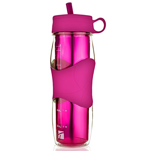Trudeau Plastic Water Bottle 16 oz, BPA Free Tritan Hard Materials, With flexible silicone straw, Sports Water Bottles w/Cool Cold Drinking Portable Perfect for Outdoor Bicycle & Camping & Gym- Pink