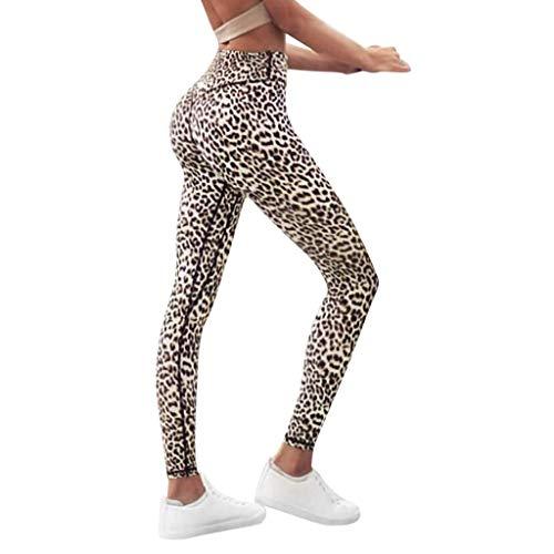 iCJJL Extra High Waist Tummy Control Leopard Print Leggings Workout Fitness Yoga Pants Activewear White (Leopard Mat Yoga)