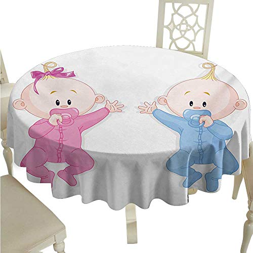 Willsd Restaurant Tablecloth Gender Reveal Babies Lie and Keep The Pacifiers Lovely Toddlers Sweet Childhood Picnic D36 Suitable for ()