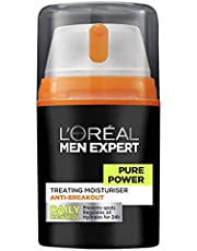 L'Oréal Paris Men Expert Pure Power Moisturiser For Men, for Oily Skin and Breakouts, 50ml