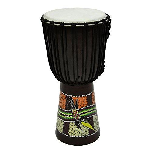 50 cm Djembe Trommel Buschtrommel Afrika-Style exotischer Dotprint Schnüre Knoten Ziegenfell schwarz bunt