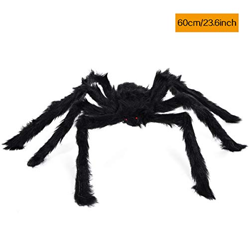 KAIYANG 23.6Inch Giant Halloween Black Spider, Plush Color Spider Props, Scary Hairy Fake Spiders for Kids Indoor Outdoor Yard Party Decors Halloween Decorations (23.6 Inch, Black)]()