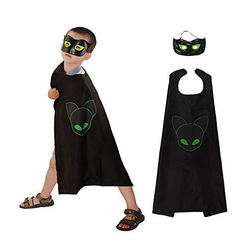 Kids' Costume Ladybug and Cat Nior Superhero Capes with Mask for Girls and Boys Party Halloween Christmas Fancy Dress 2pcs (Toys For Boys Cat)