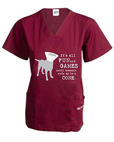 Dog is Good It's All Fun and Games Unisex Scrub Top (XS) (Scrub Vet)