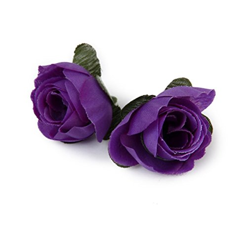 Tinksky 50pcs 3cm Artificial Roses Flower Heads Wedding Decoration (Purple)