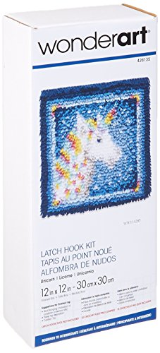 Wonderart Latch-Hook Kit, Unicorn, 12