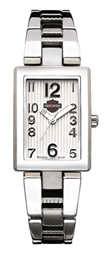 Harley-Davidson Women's Curved Dial Stainless Steel Watch, Silver 76L147
