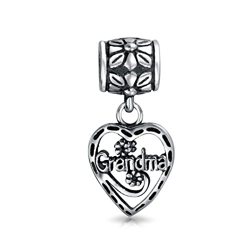 Vintage Style Bff Grandma Word Heart Dangle Charm Bead For Grandmother 925 Sterling Silver Fits European Bracelet