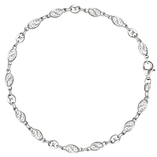 (Mixed Filigree And Mariner Link Chain Anklet In Sterling Silver, 10