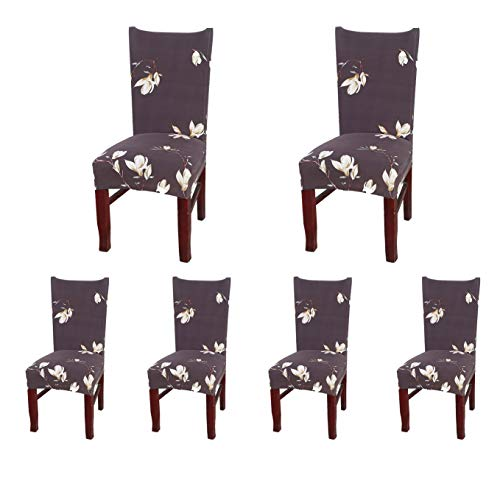 SoulFeel Set of 6 Dining Chair Covers, Stretch Spandex Dining Room Protector Slipcovers (Style 51, Magnolia Brown)