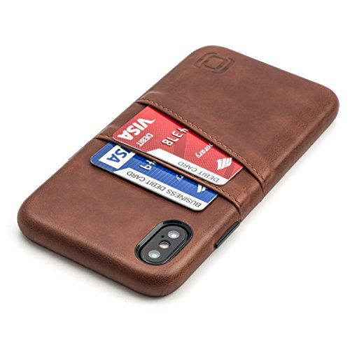 Iphone Executive Case - Dockem Exec Wallet Case iPhone X - Slim Vintage Synthetic Leather Card Case with 2 Card/ID Holder Slots, Simple Professional Executive Snap On Cover [Brown]