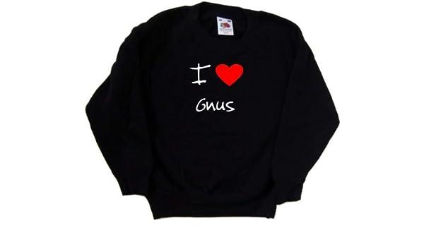 I Love Heart Gnus Black Kids Sweatshirt