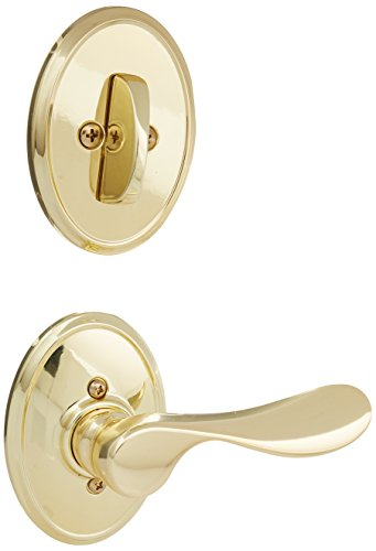 Schlage Lock Company F94CHP605WKFLH Polished Brass Interior Pack Champagne Lever Left Handed Dummy Interior Pack with Deadbolt Cover Plate and Decorative Wakefield Rose