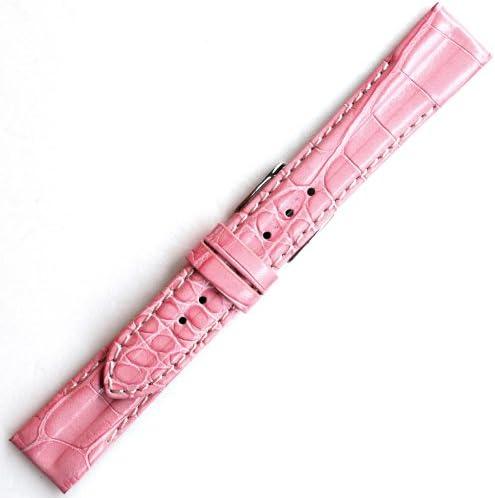【牛革型押し-白ステッチ・厚手】YK014pw1816 色:ピンク/ベルト幅:18mm/厚さ:約 4.5mm