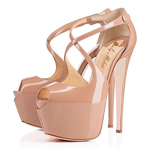 Damen Open Toe Plateau Stiletto High Heel Pumps Schluepfen Knoechel Cross Strap Buckle Party Schuhe Natural