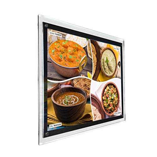Wall Mounted Restaurant Fast Food Led Backlit Crystal Frame Menu Board Sign