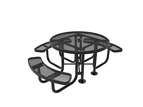 CoatedOutdoorFurniture TRD3-BLK Top Round Portable Picnic Table, 46-Inch, Black