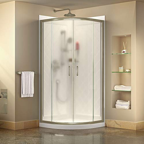 DreamLine Prime 33 in. x 76 3/4 in. Semi-Frameless Frosted Glass Sliding Shower Enclosure in Brushed Nickel with Base and Backwall