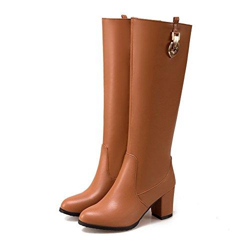 punta BalaMasa botas Amarillo tacones de mujer de gruesos redonda uretano cremallera aqAga