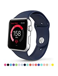 Apple Watch Band,Teslasz® Soft Silicone Replacement Sports Wristbands Straps for Apple iWatch All Models (Dark Blue 42 MM)