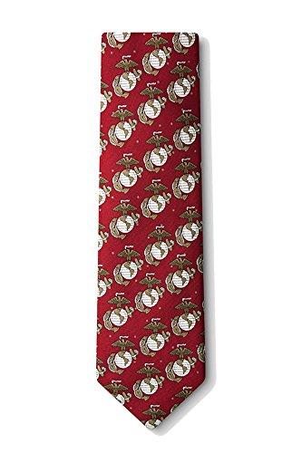 Men's Burgundy Red USMC United States Marine Corps Logo Necktie tie Neckwear ()