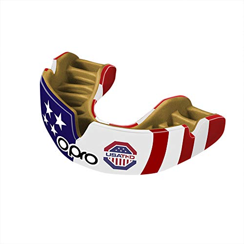 OPRO Power-Fit Mouthguard   Adult Handmade Gum Shield for Football, Rugby, Hockey, Wrestling, and Other Combat and Contact Sports - 18 Month Dental Warranty (Ages 10+) (USA Taekwondo) ()